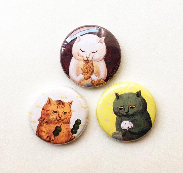 カマノレイコ・猫イラスト・甘党バッジ3個セットの画像1枚目