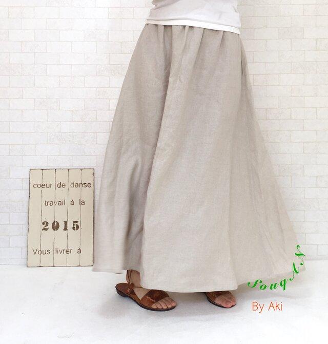 麻 de エレガスリーク*フワッとAライン リネンスカート 受注生産 選べるカラー S.M.Lサイズ変更可の画像1枚目