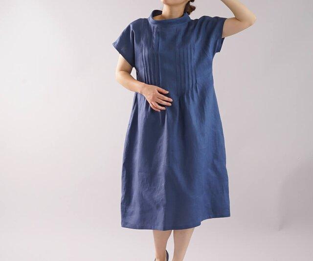 【wafu】リネンワンピース ピンタック オフネックドレス シルクオーガンジー/ブルーマリーヌ a81-17の画像1枚目