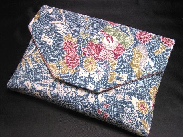 正絹 数寄屋袋 小紋と櫻の内袋 ご祝儀袋も入りますの画像1枚目