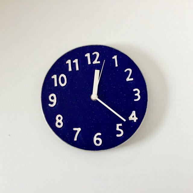 陶シンプル 掛け時計 青の画像1枚目