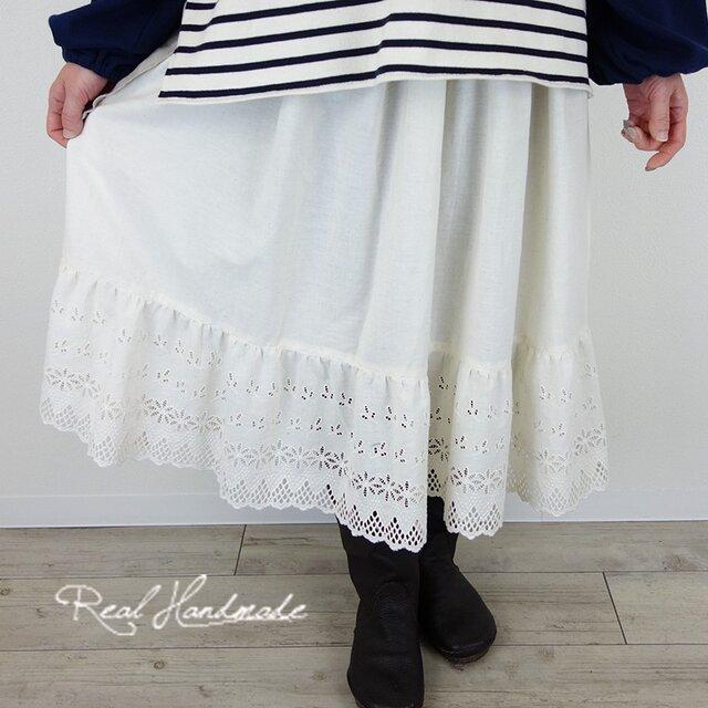 [予約販売]フラワーカットワークティアードスカートの画像1枚目