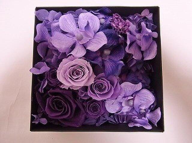 プリザーブドフラワーのボックスアレンジ「紫蘭」の画像1枚目