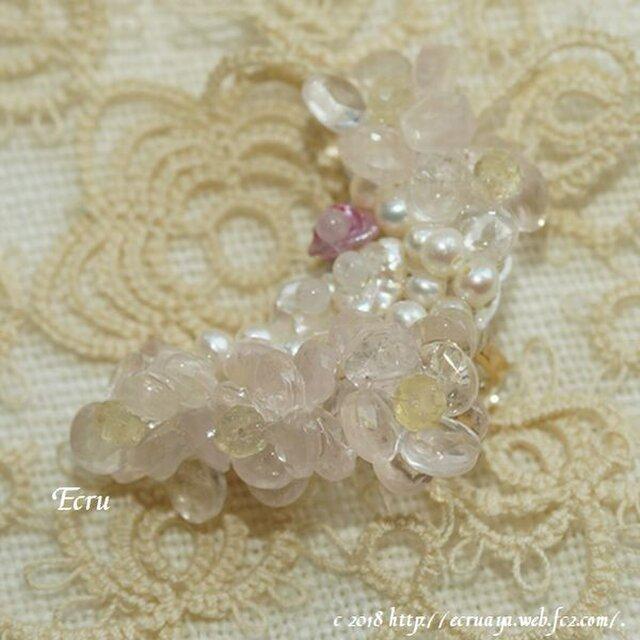 *桜春風*ローズクォーツの桜のイヤーカフの画像1枚目