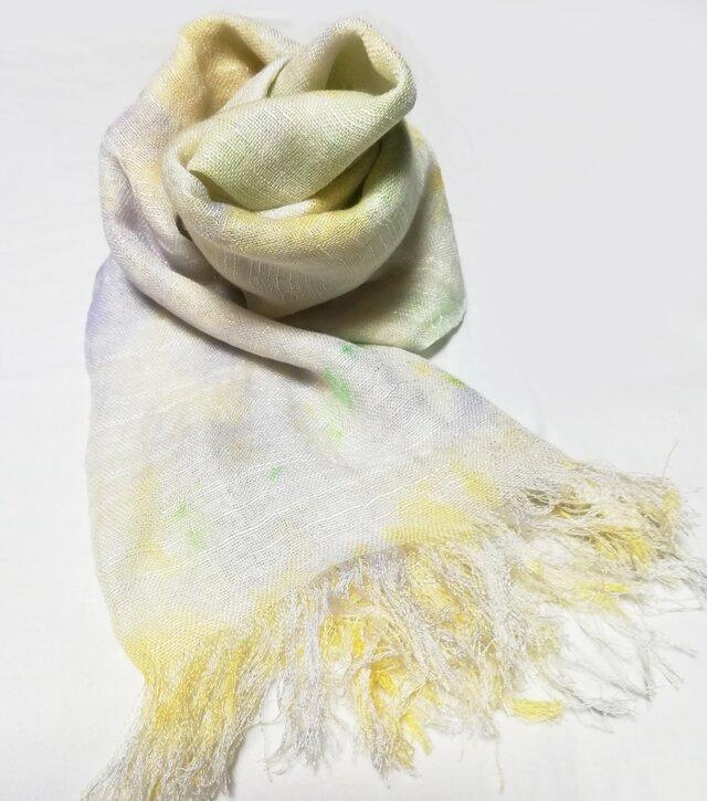 国産シルク100%手描き染めストール pale green&yellow&purple-の画像1枚目
