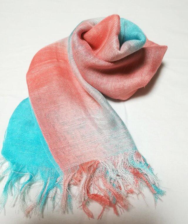 国産シルク100%手描き染めストール pink&blue-の画像1枚目