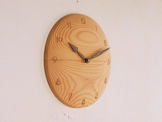 木製 掛け時計 丸 松材1の画像1枚目