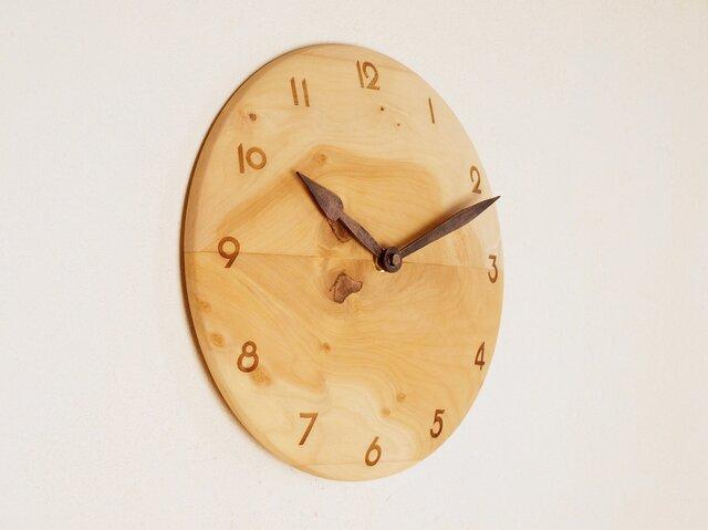 木製 掛け時計 丸 シナ材2の画像1枚目