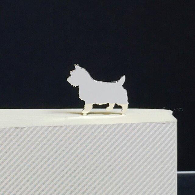 Dog-33 BookMarkシルバーブックマーク しおり ノーリッチテリア<受注制作>の画像1枚目