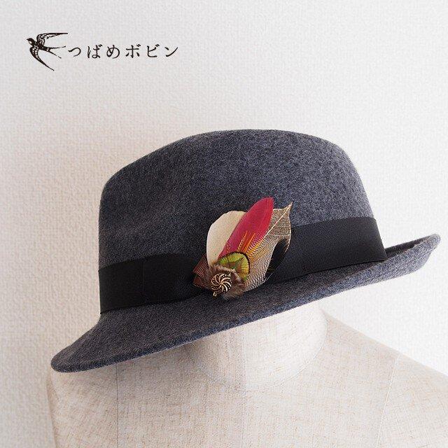 羽根のコラージュハットピン/ブローチ◎BR001【送料無料】の画像1枚目