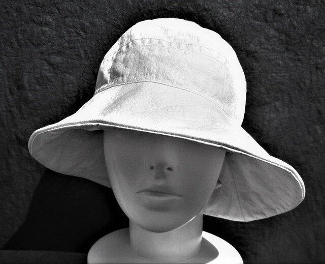 機能性和紙帽子つば広オフホワイト色の画像1枚目
