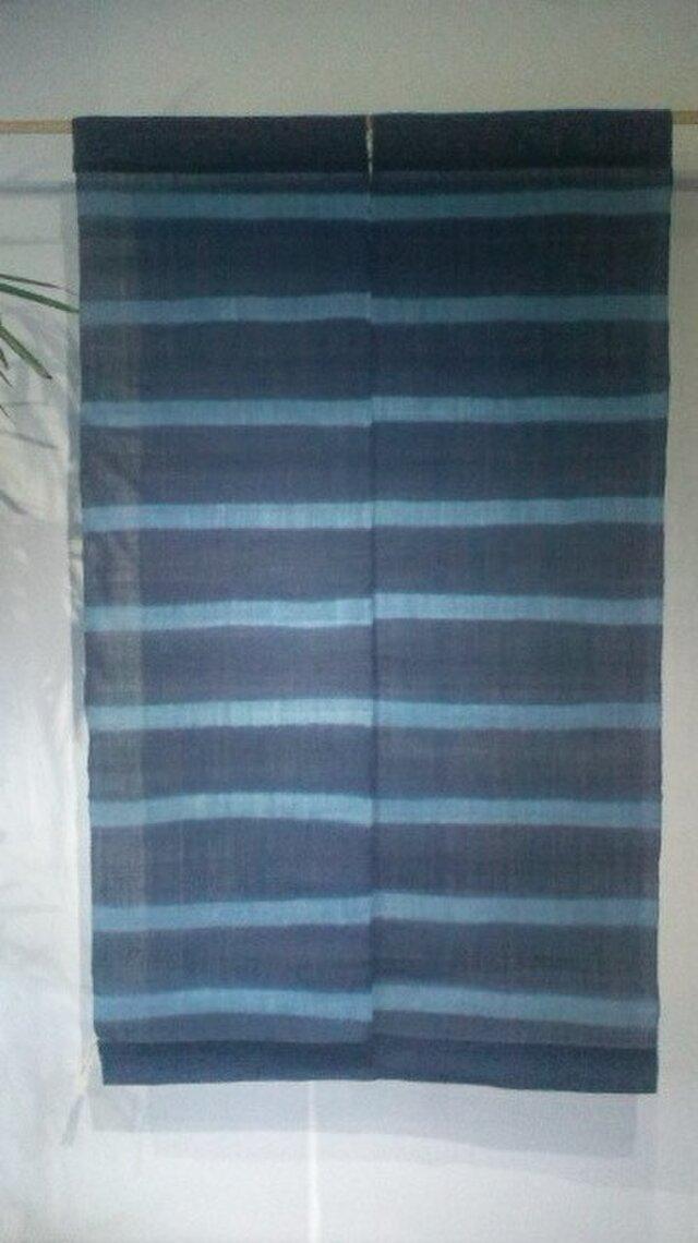 藍染め生平麻板〆絞り暖簾 2巾の画像1枚目