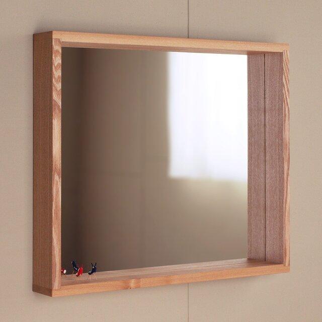 木製 はこ鏡 タモ材1 ミラー ボックス型の画像1枚目