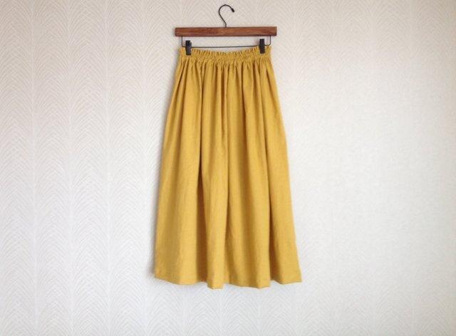 リネンコットン綿麻ワッシャーm・ロングスカートの画像1枚目