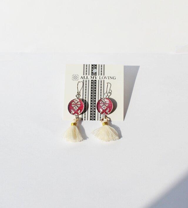 博多織樹脂フックピアス (RPA-1) アメリカン 紫 パープル フリンジ タッセル 白 レジン 和装 着物 博多献上の画像1枚目