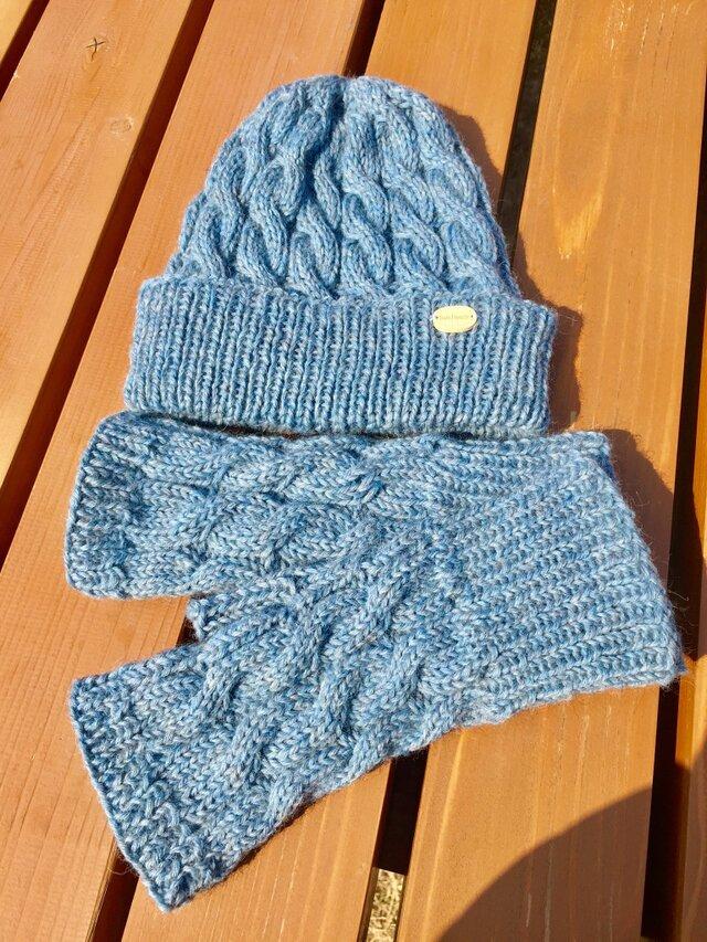縄編み帽子とハンドウォーマーのセットの画像1枚目