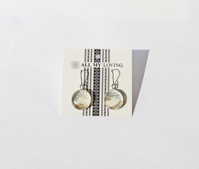 博多織樹脂フックピアス (RPA-2)銀 水色 白 シルバー ホワイト レジン 和装 着物 博多献上の画像1枚目