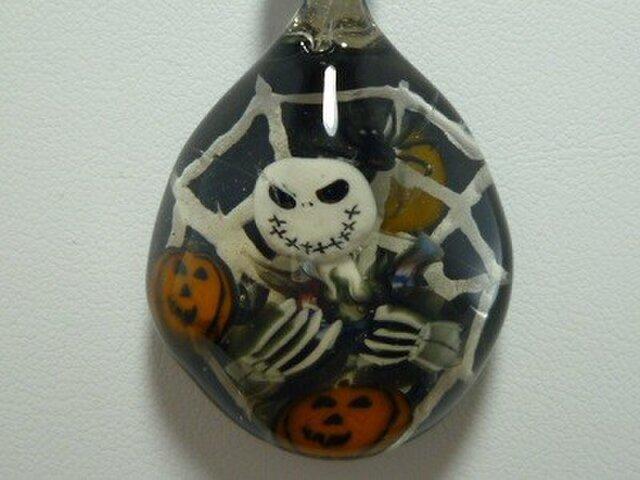 ジャック、ハロウィンNO.1(蜘蛛の巣、白い糸、黒)の画像1枚目