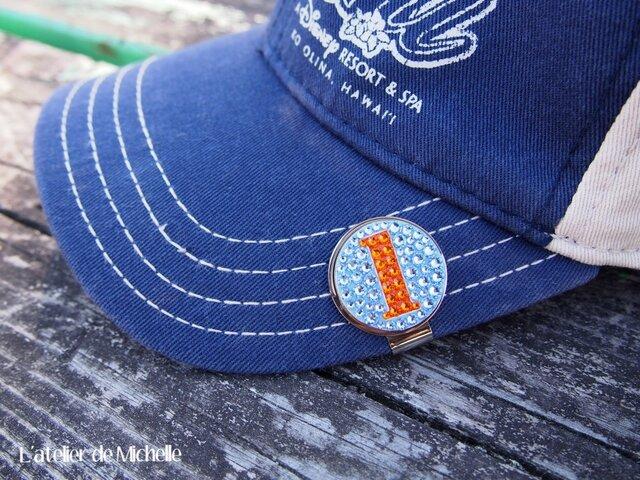 ゴルフマーカー(ナンバー・ライトブルー&オレンジ)の画像1枚目
