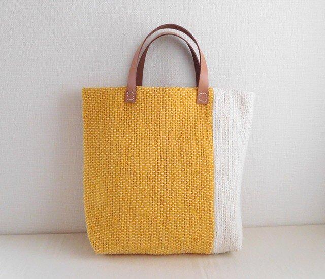 裂き織りバッグ 黄+生成の画像1枚目