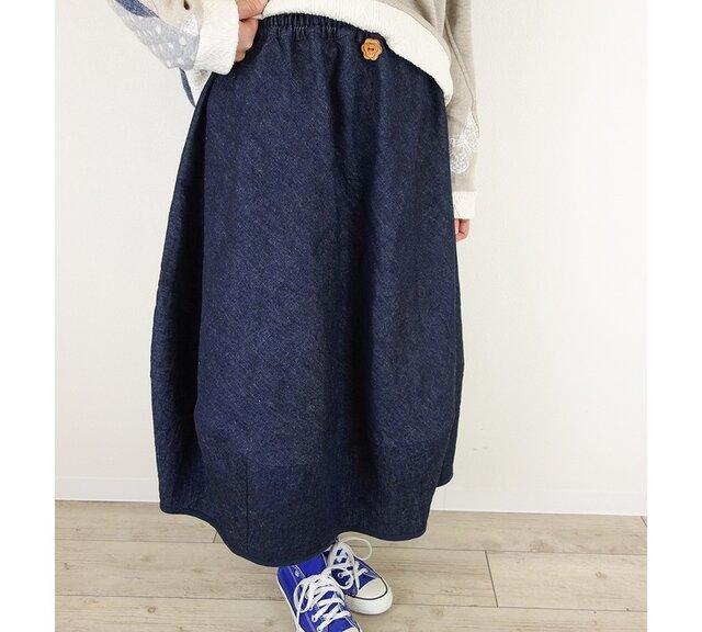 [予約販売] リネンデニムバルーンスカートの画像1枚目