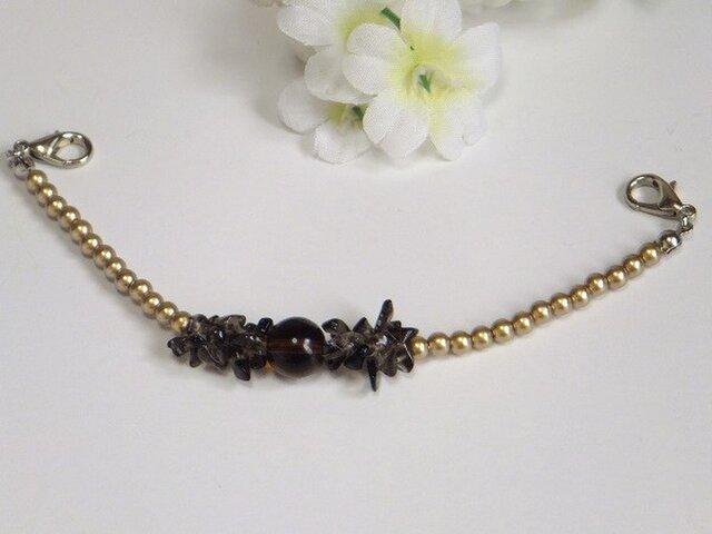 女性羽織紐◆天然石さざれスモーキークォーツと大人ゴールドの画像1枚目
