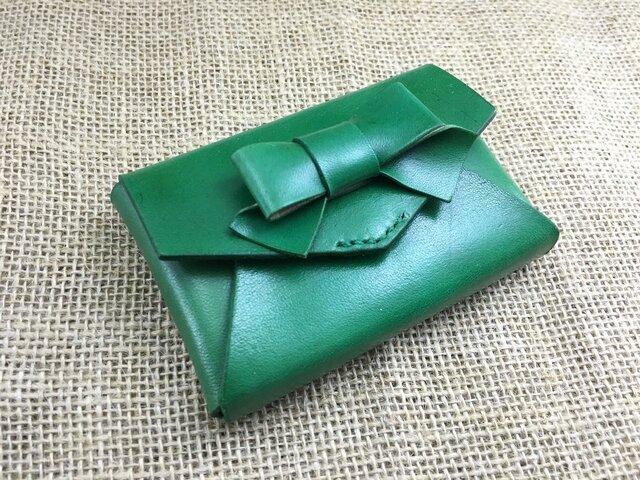 リボン付き箱型カードケース【グリーン】の画像1枚目