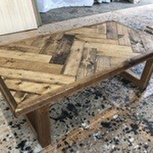 hotaru ヘリンボーン お洒落 カリフォルニア風 カフェ ローテーブル 無垢材 オーダー可 の画像1枚目