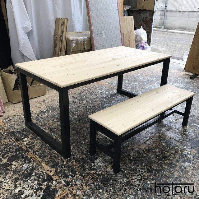 hotaru 男前家具 ダイニング テーブル ベンチ1台付き 無垢材 天然木 オーダー可の画像1枚目