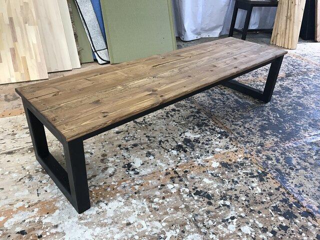 hotaru 男前家具 ロング ローテーブル リビングテーブル ソファーテーブル オーダー可 天然木 無垢材の画像1枚目