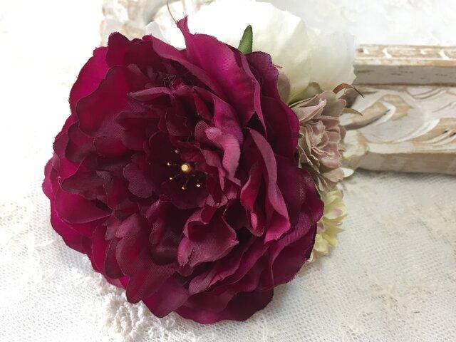 人気色!!ワインレッド ラナンキュラスのアンティークコサージュ *卒業式*入学式*結婚式の画像1枚目