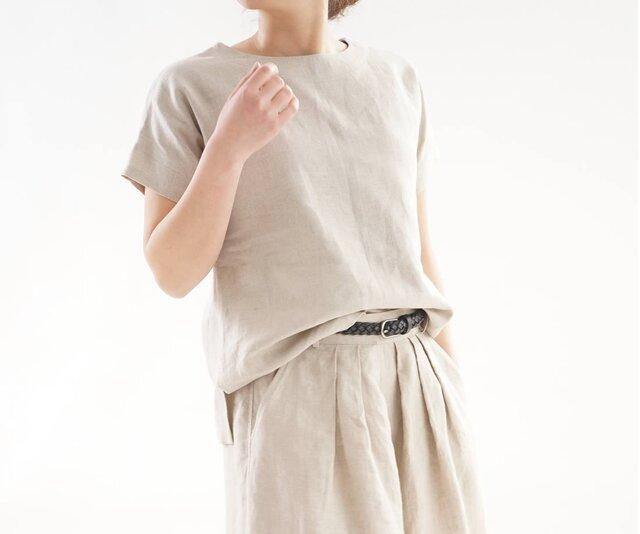 【wafu】中厚 リネン トップス ドロップショルダー ブラウス Tシャツ / 亜麻ナチュラル t1-88の画像1枚目