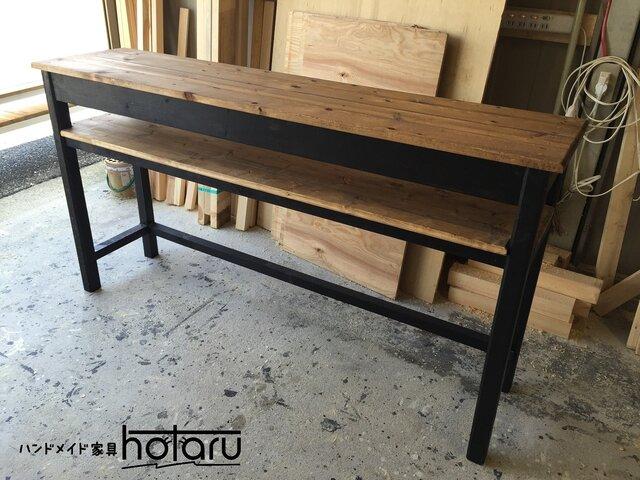 hotaru 男前家具 カウンター 棚付 キッチン 作業台 デスク 机 オーダー可 天然木 無垢材の画像1枚目