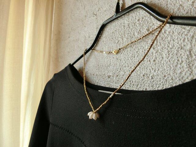 *AWA×awaネックレス@淡水パール+真鍮つぶつぶビーズの画像1枚目