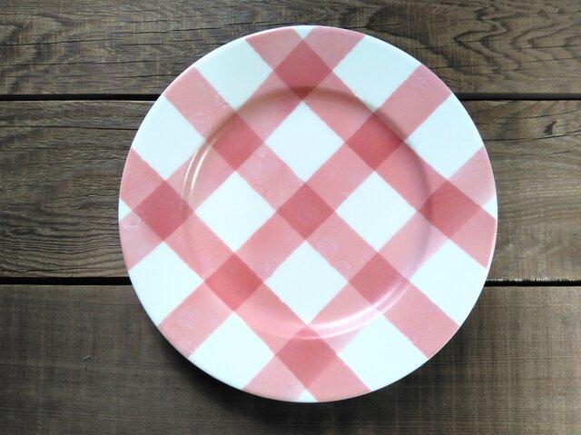 アースカラー チェックプレート ピンクの画像1枚目