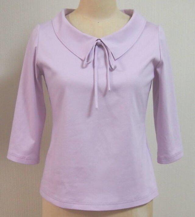 (再販)ショールカラーのリボン大好きTシャツ(ピンクパープル)の画像1枚目