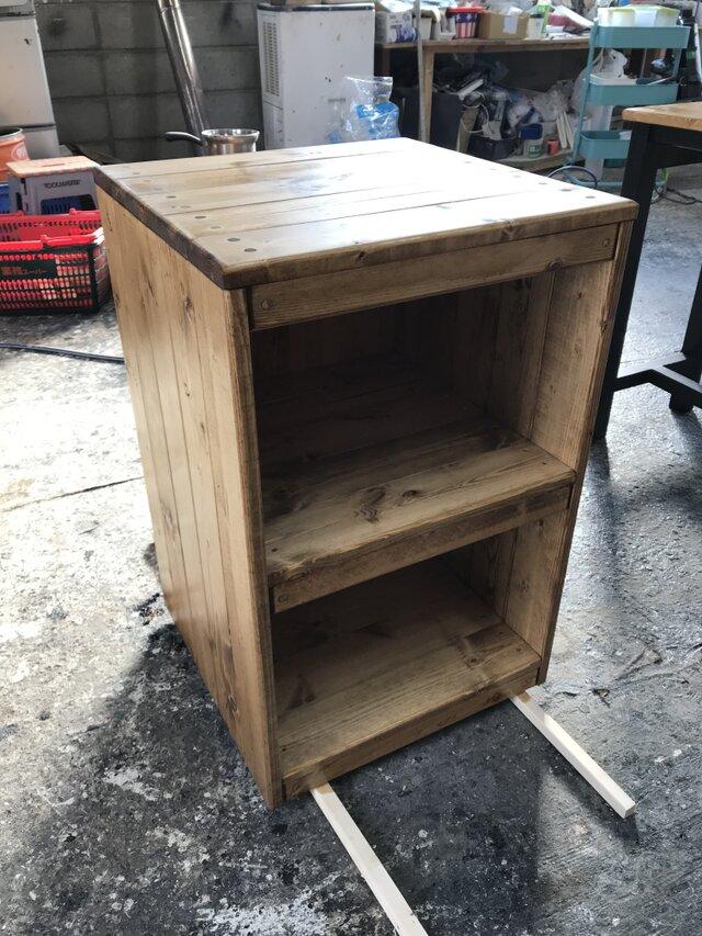 hotaru キャビネット 2段BOX 棚 本棚 飾り棚 無垢材 天然木 オーダー可の画像1枚目