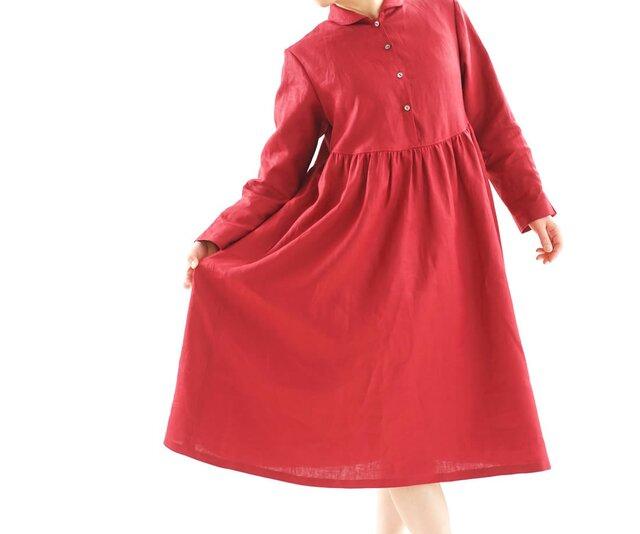 【wafu】中厚 リネンワンピース ショールカラー 前開き ドレス 袖スリット ミモレ丈/ルビーレッド a019c-rre2の画像1枚目