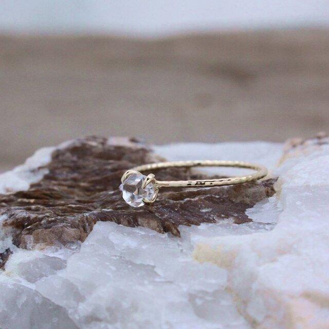 Herkimer Diamond Ring ハーキマーダイヤモンドの縄目リング K10YG #9号または#11号の画像1枚目