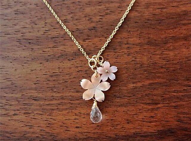 14kgf ピンクシェル桜のネックレスの画像1枚目