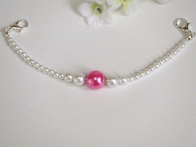 羽織紐◆大人可愛く☆白と艶めく鮮やかピンクの画像1枚目