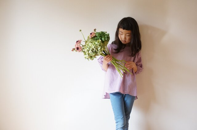 Cotton linen voile blouse kids 3,4 sizeの画像1枚目