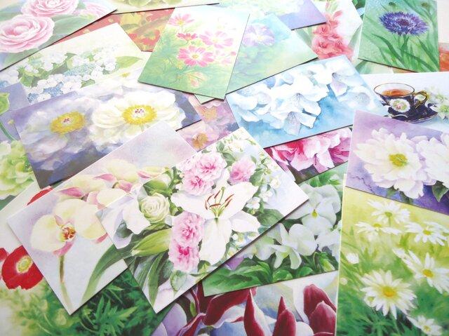 27枚、花の水彩画メッセージカード 27種柄違いの画像1枚目