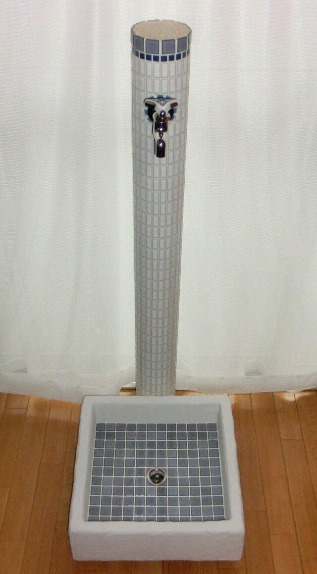 全4種☆モザイクタイルのガーデン水栓柱&流し台セット『B』の画像1枚目