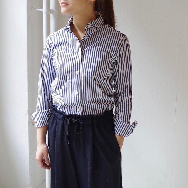 """ストライプベーシックシャツ """"navy × white stripe """" /size:2の画像1枚目"""