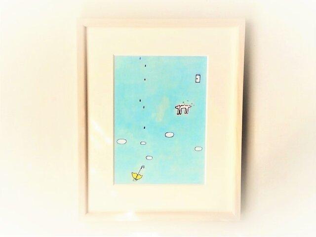 「雨と白い犬」イラスト原画/額縁入りの画像1枚目