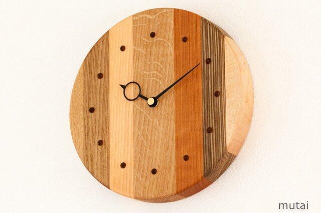 寄せ木の壁掛け時計 円形36の画像1枚目