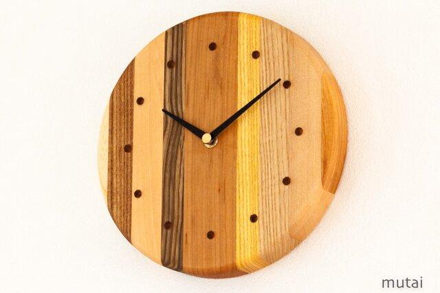 寄せ木の壁掛け時計 円形37の画像1枚目