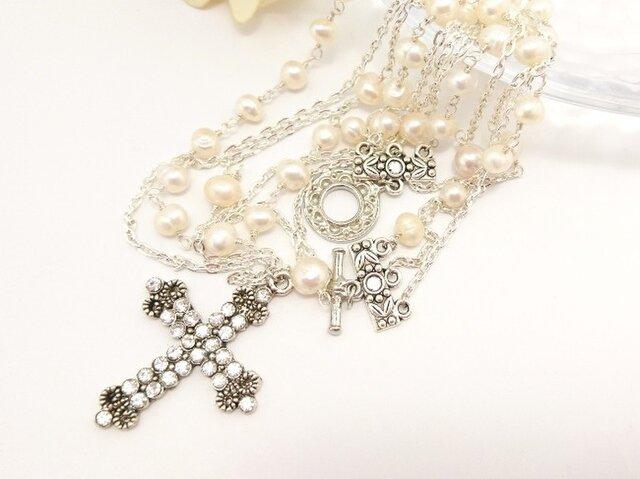 【Sold】アンティーク調 淡水パール&ラインストーン付きクロス*3連ネックレスの画像1枚目