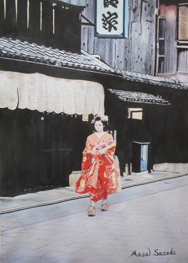 黄昏時の祇園の風景の画像1枚目
